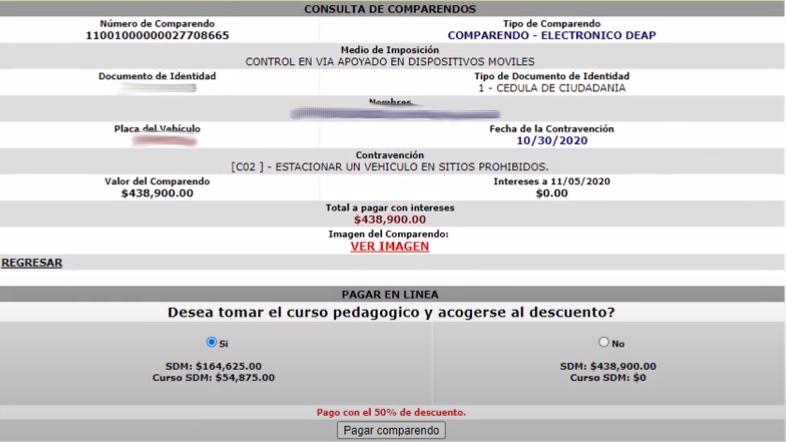 Pagar en línea comparendos en Bogotá